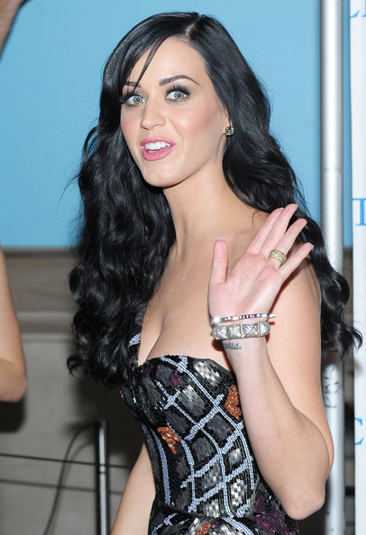 Katy Perry Bangle Bracelet [katy perry,hair,black hair,photo shoot,long hair,lady,hairstyle,beauty,lip,leg,thigh,new york city,metropolitan museum of art,david lynch foundations change begins within benefit celebration]