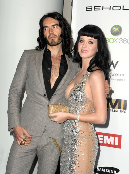 Katy Perry Diamond Bracelet [suit,fashion model,flooring,formal wear,long hair,carpet,tuxedo,russell brand,katy perry,arrivals,grammy,blue carpet,hollywood,residences,california,emi,grammy party]