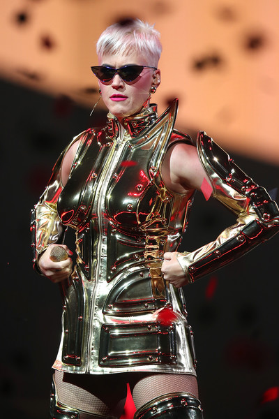 Katy Perry Cateye Sunglasses [katy perry,the tour - perth,latex clothing,lady,latex,performance,costume,corset,cosplay,fictional character,fetish model,performing arts,perth arena,perth,australia]