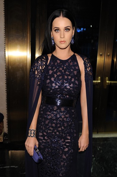 Katy Perry Satin Clutch [hair,clothing,dress,fashion model,fashion,cocktail dress,hairstyle,shoulder,beauty,haute couture,katy perry,cipriani 42nd street,new york city,unicef,snowflake ball]