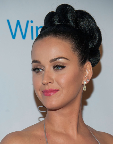 Katy Perry Dangling Diamond Earrings [hair,face,hairstyle,eyebrow,bun,chin,beauty,lip,eyelash,black hair,katy perry,stars,jewelry detail,los angeles,california,the ace hotel theater,universal music group,post-grammy party,party]