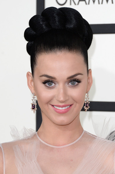 Katy Perry Dangling Gemstone Earrings [hair,eyebrow,beauty,hairstyle,fashion model,forehead,chin,eyelash,black hair,bun,arrivals,katy perry,56th grammy awards,staples center,los angeles,california]