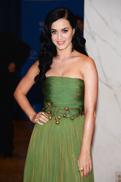 Katy Perry Cocktail Ring [white house correspondents association dinner,hair,dress,clothing,green,lady,strapless dress,shoulder,fashion,beauty,cocktail dress,washington dc,washington hilton,katy perry]