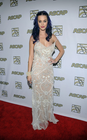 Katy Perry Beaded Dress [dress,clothing,red carpet,shoulder,carpet,gown,fashion model,hairstyle,flooring,fashion,arrivals,katy perry,ascap pop music awards,ascap pop music awards,hollywood renaissance hotel,california]