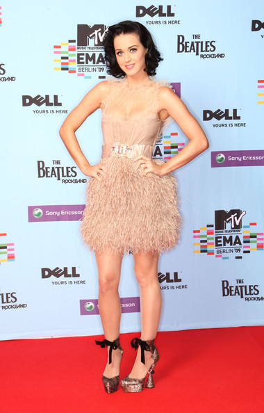 Katy Perry Cocktail Dress [katy perry,clothing,dress,red carpet,cocktail dress,carpet,fashion model,premiere,shoulder,footwear,leg,mtv europe music awards 2009 - press conference,mtv europe music awards,berlin,germany,o2 arena]