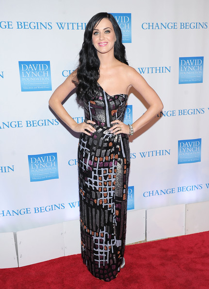 Katy Perry Evening Dress [katy perry,clothing,dress,carpet,red carpet,strapless dress,shoulder,fashion,hairstyle,fashion model,premiere,new york city,metropolitan museum of art,david lynch foundations change begins within benefit celebration]