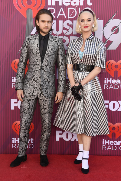 Katy Perry Shirtdress [red carpet,carpet,clothing,fashion,flooring,premiere,fashion design,event,suit,dress,arrivals,zedd,katy perry,iheartradio music awards,l-r,california,los angeles,microsoft theater,fox]