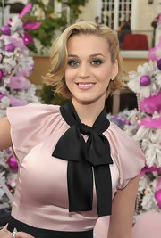 Katy Perry wore her hair in a blond bob with blue streak at the launch of MEOW!
