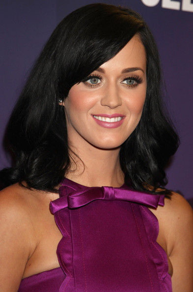 Katy Perry Pink Lipstick [hair,face,hairstyle,eyebrow,black hair,beauty,brown hair,chin,purple,shoulder,katy perry,purr,london,england,selfridges,launch,launch]