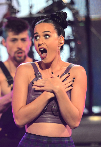 Katy Perry Dark Nail Polish [performance,abdomen,singing,human body,singer,event,trunk,performing arts,black hair,dancer,las vegas,nevada,mgm grand garden arena,iheartradio music festival,katy perry]
