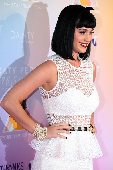 Katy Perry Dark Nail Polish [white,clothing,beauty,skin,pink,fashion,dress,shoulder,waist,leg,katy perry,media call,media,george street,sydney,australia,telstra hq]