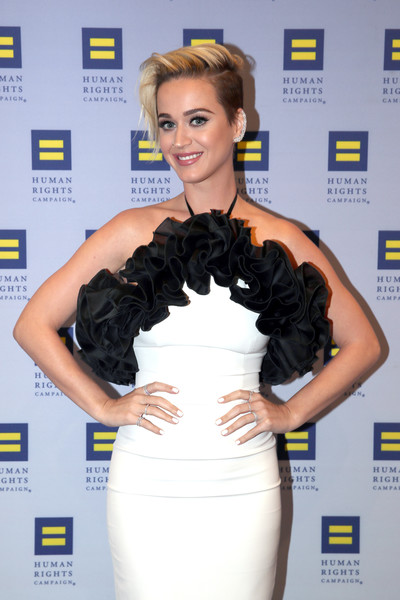 Katy Perry Neutral Nail Polish [hair,clothing,shoulder,dress,hairstyle,carpet,beauty,cocktail dress,fashion,yellow,katy perry,los angeles,jw marriott,california,l.a. live,human rights campaign,gala dinner]