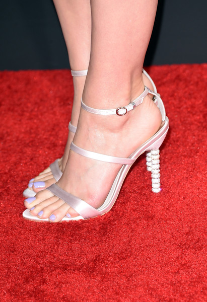 Katy Perry Pastel Nail Polish [footwear,high heels,leg,human leg,sandal,ankle,shoe,foot,red,joint,arrivals,katy perry,grammy awards,fashion detail,california,los angeles,staples center,the 57th annual grammy awards]