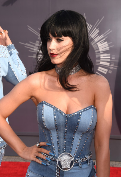 Katy Perry Pastel Nail Polish [riff raff,clothing,corset,hairstyle,black hair,fashion,premiere,dress,bangs,muscle,long hair,katy perry,rapper,2014 mtv video music awards,room,inglewood,california,l,the forum]