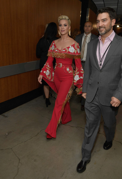 Katy Perry Jumpsuit [suit,fashion,formal wear,event,fun,leg,outerwear,costume,smile,trunk,katy perry,grammy awards,backstage,staples center,los angeles,california,annual grammy awards]