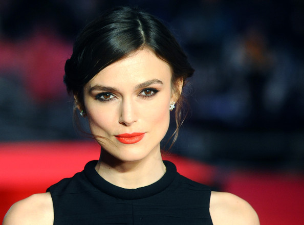 Keira Knightley Chignon [jack ryan: shadow recruit premieres,hair,face,lip,eyebrow,hairstyle,beauty,red,chin,skin,black hair,keira knightley,london,uk,england,vue leicester square,jack ryan: shadow recruit]