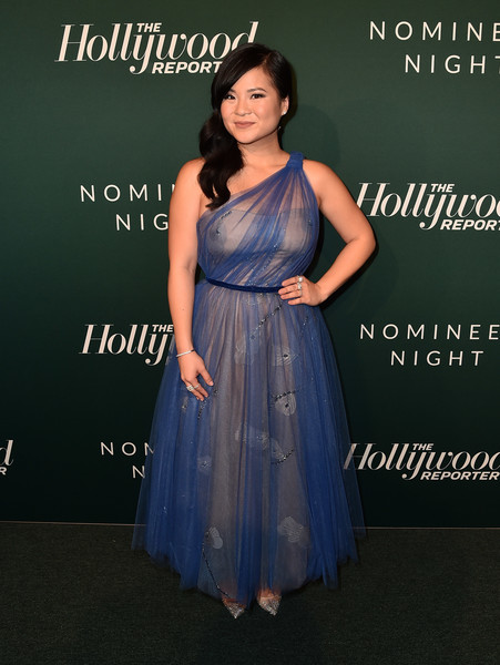 Kelly Marie Tran One Shoulder Dress [clothing,dress,formal wear,fashion,bridal party dress,gown,shoulder,cocktail dress,event,fashion design,nominees,kelly marie tran,california,beverly hills,hollywood reporter,hollywood reporter 6th annual nominees night - arrivals]