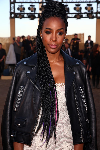 Kelly Rowland Long Braided Hairstyle [kelly rowland,christian dior cruise 2018 runway show,hair,hairstyle,street fashion,fashion,beauty,leather,black hair,cornrows,jacket,lip,santa monica,california,upper las virgenes canyon open space preserve]