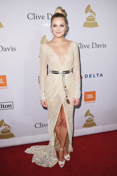 Kelsea Ballerini Wrap Dress [fashion model,flooring,carpet,fashion,gown,shoulder,red carpet,joint,catwalk,cocktail dress,kelsea ballerini,debra lee - arrivals,debra lee,salute to industry icons,california,los angeles,the beverly hilton,pre-grammy gala]