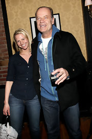 Kelsey Grammer sported the layered look with a black jacket over a blue hoodie at the 'La Cage Aux Folles' party.