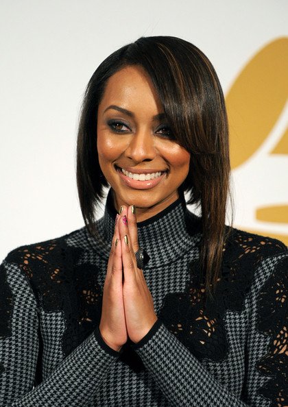 Recording artist Keri Hilson poses in the press room during The GRAMMY