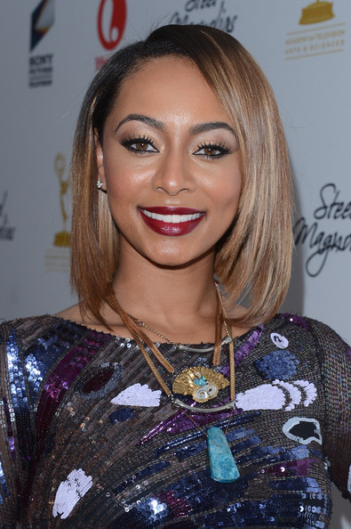 Keri Hilson Layered Gold Necklace [steel magnolias,hair,face,hairstyle,eyebrow,blond,beauty,lip,eyelash,fashion,brown hair,keri hilson,new york city,lifetime,premiere event,steel magnolias premiere event]