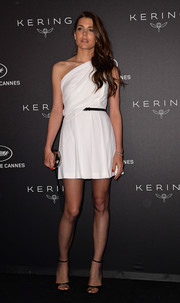 Charlotte Casiraghi styled her dress with black ankle-strap sandals.