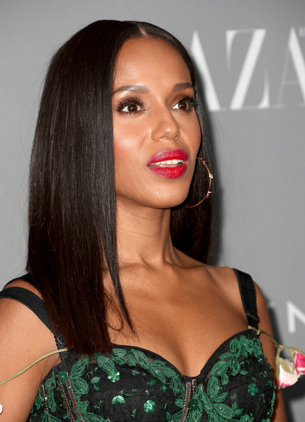 Kerry Washington Long Straight Cut [hair,beauty,human hair color,eyebrow,hairstyle,lip,fashion model,black hair,long hair,brown hair,arrivals,kerry washington,costume designers guild awards,honoree,beverly hills,california,the beverly hilton hotel,cdga]