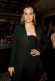 Taylor Schilling went menswear-chic in a black tux jacket at the Spotlight pre-Golden Globe celebration.