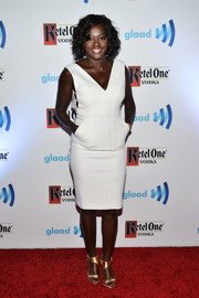 Viola Davis worked a crisp white sheath dress at the GLAAD Media Awards.