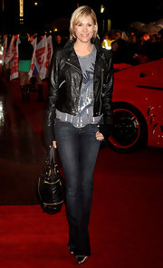 Jenni Falconer arrived at the 'Kick-Ass' UK Premiere looking the part in her tough-luxe leather jacket.