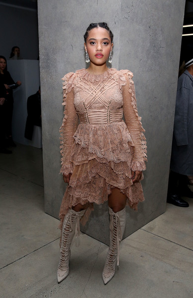 Kiersey Clemons Lace Up Boots [fashion model,fashion,catwalk,runway,haute couture,flooring,fashion design,fashion show,girl,kiersey clemons,zimmermann - front row,new york city,zimmermann,new york fashion week]