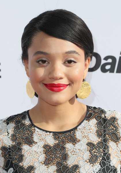 Kiersey Clemons Gold Dangle Earrings [hair,face,lip,hairstyle,eyebrow,chin,beauty,skin,black hair,forehead,arrivals,kiersey clemons,west hollywood,california,sunset tower hotel,daily front row,3rd annual fashion los angeles awards]