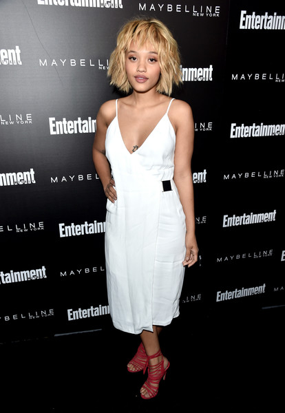 Kiersey Clemons Wrap Dress [cocktail dress,clothing,dress,hairstyle,premiere,fashion,fashion model,shoulder,footwear,long hair,kiersey clemons,nominees,arrivals,screen actors guild awards,los angeles,chateau marmont,california,maybelline,screen actors guild,entertainment weekly celebration]