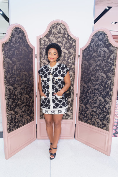 Kiersey Clemons Print Blouse [nordstrom host private event to celebrate the opening of new handbag shop,clothing,fashion,dress,long hair,room,outerwear,fashion design,black hair,shoe,style,kiersey clemons,downtown seattle,washington,gucci,nordstrom]