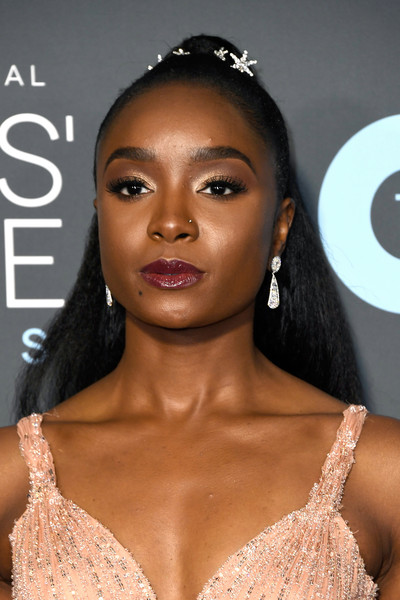 Kiki Layne Ponytail [hair,eyebrow,face,lip,skin,hairstyle,beauty,nose,chin,eyelash,arrivals,kiki layne,critics choice awards,santa monica,california,barker hangar]