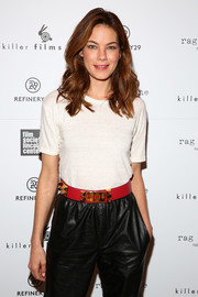 Michelle Monaghan spiced up her casual outfit with a studded red belt for Killer Films' 20th anniversary celebration.