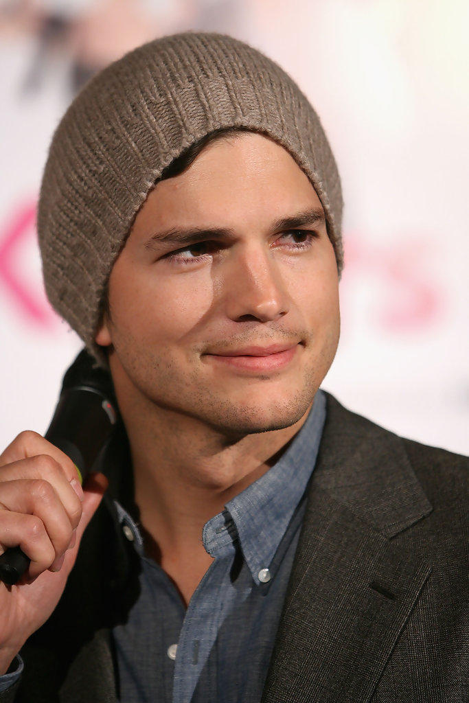 Ashton Kutcher Beanie More Pics of Ashton Ku...