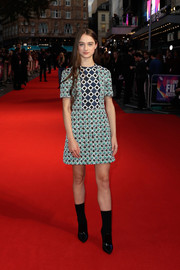 Raffey Cassidy looked adorably mod in a patterned tweed mini dress by Burberry at the UK premiere of 'The Killing of a Sacred Deer.'