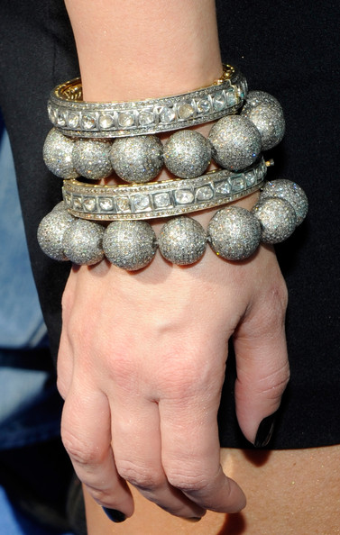 Television personality Kim Kardashian jewelry detail arrives at the Wet