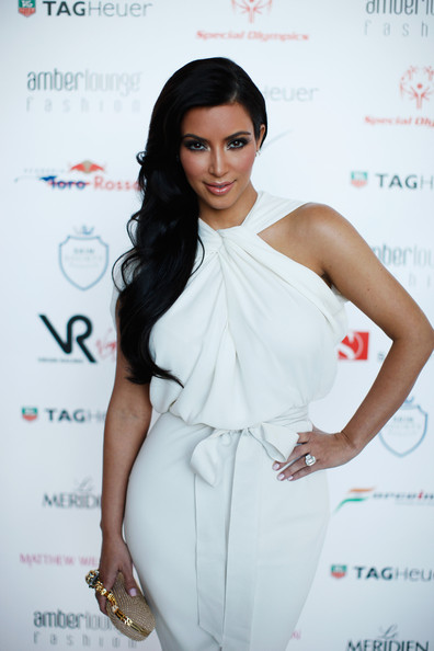 Kim Kardashian attends the Amber Fashion Show held at the Meridien Beach