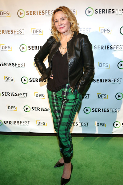 Kim Cattrall Leather Jacket [green,clothing,leather,footwear,jacket,joint,textile,outerwear,premiere,leather jacket,kim cattrall,krista smith,denver,colorado,sie filmcenter,season two - panel,seriesfest,season two]