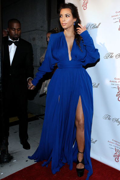 Kim Kardashian Platform Pumps [blue,electric blue,fashion model,flooring,cobalt blue,dress,fashion,carpet,formal wear,gown,cirpiani wall street,new york city,angel ball,kanye west,kim kardashian]