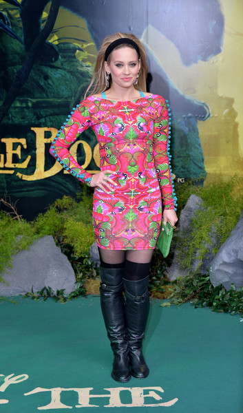 Kimberly Wyatt Over the Knee Boots [the jungle book,clothing,fashion model,pink,fashion,footwear,lady,hairstyle,fashion design,long hair,dress,premiere - arrivals,kimberly wyatt,european,england,london,bfi imax,premiere]