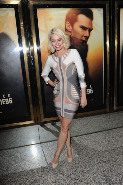 Kimberly Wyatt Print Dress [star trek into darkness - uk film premiere,clothing,dress,fashion,cocktail dress,leg,footwear,fashion design,fashion model,flooring,photography,kimberly wyatt,uk,england,london,the empire cinema,premiere]