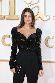 Julia Restoin-Roitfeld shone in a long-sleeve black sequin top at the world premiere of 'Kingsman: The Golden Circle.'