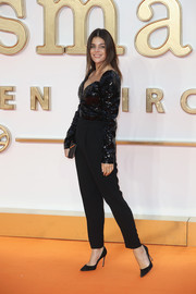 Julia Restoin-Roitfeld teamed black trousers with a sequined top for the world premiere of 'Kingsman: The Golden Circle.'