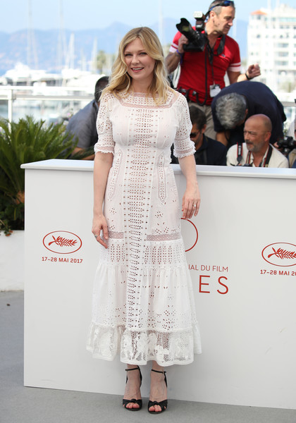 Kirsten Dunst Embroidered Dress [the beguiled photocall - the 70th annual cannes film festival,the beguiled,white,clothing,dress,fashion,premiere,red carpet,beauty,carpet,flooring,fashion model,kirsten dunst,photocall,cannes,france,cannes film festival,palais des festivals]