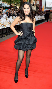 Barbara donned a black strapless mini dress with a bow and lots of ruffles.
