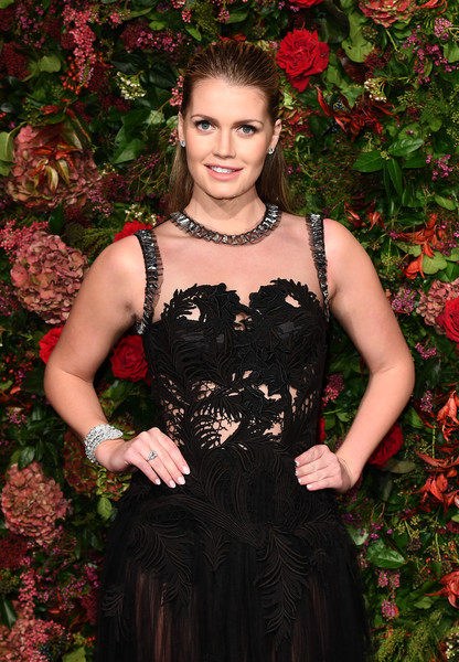 Kitty Spencer Diamond Bracelet [clothing,dress,beauty,fashion,cocktail dress,gown,long hair,smile,haute couture,fawn,red carpet arrivals,kitty spencer,evening standard theatre awards,london,england,theatre royal]